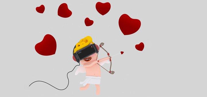 Дизайн 3D открытки любимому человеку в очках виртуальной реальности от «Junior IT»